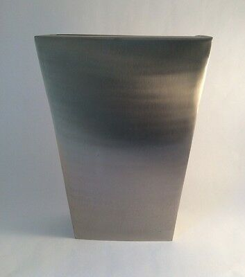 Pottery Barn Medium Zinc Vase Tall Modern Metal Clean Contemporary Look 12""