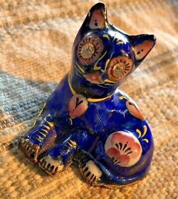 Classy Antique Enamel over Sterling Silver Cat Figurine