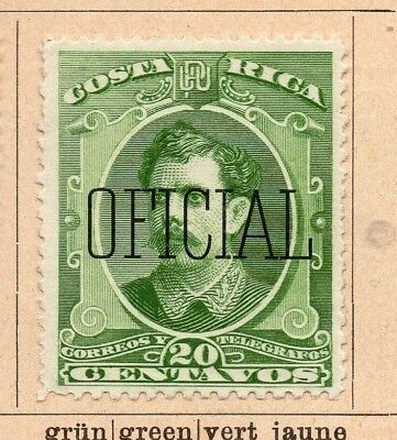 Costa Rica 1890 Early Issue Fine Mint Hinged 20c. Official Optd 252202