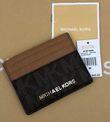 Michael Kors Jet Set Travel Credit Card Holder Case Signature PVC Brown New -