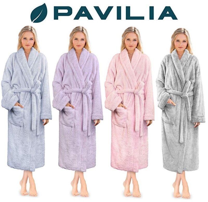 Womens Ladies Fluffy Robe Soft Fleece Luxe Plush Warm Sherpa Night Spa Bathrobe