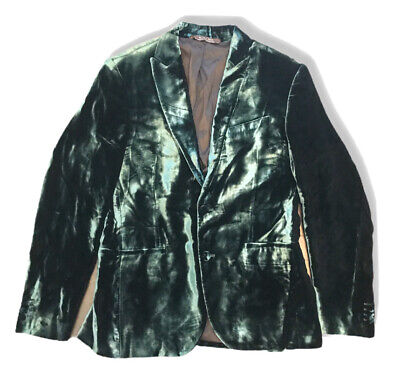 Mens ZARA Man sz 42 Limited Edition green velvet blazer jacket