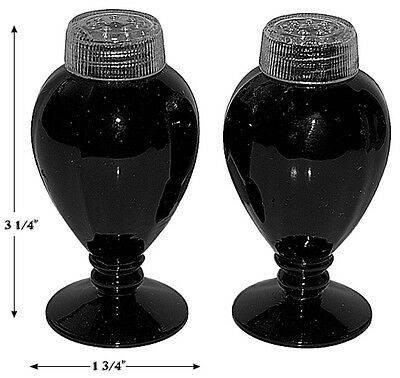 Fostoria Fairfax #2375 Footed Ebony (black) Shakers