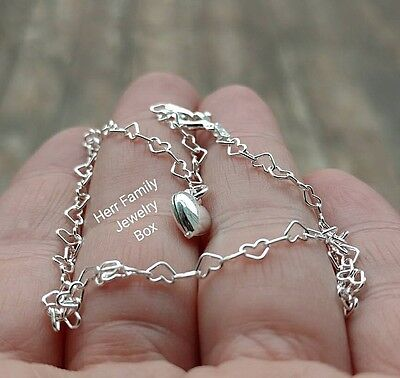 Pure Italian Sterling Silver HEART Charm Rolo Chain Link Anklet Ankle Bracelet