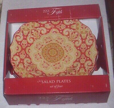 222 Fifth LYRIA SAFFRON - Salad Plates - 4 - New
