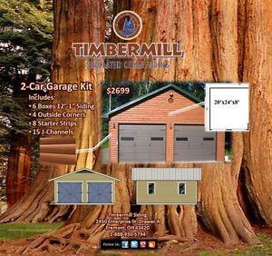 Timbermill log vinyl siding garage kit for Home hardware garage kits