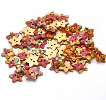 WOOD STAR BUTTONS X 25. 5 OF EACH STYLE. SEWING, CRAFTS, ETC. Rothwell Redcliffe Area Preview