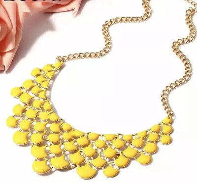Yellow Geometric Shaped Choker Statement Necklace Geometric Yellow Necklace