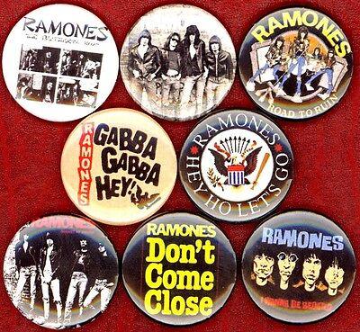 "Ramones 8 NEW 1"" buttons pins badge gabba hey blitzkrieg bop Joey Dee Dee Queens"