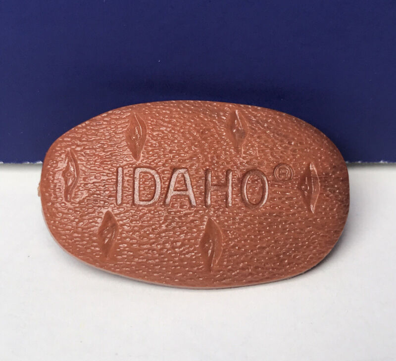 "Vintage Idaho Potato Lapel Hat Tie Pin 1.25"" Pinback Excellent Condition"