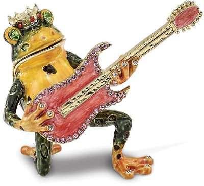 Bejeweled Frog - Bejeweled Frog with Guitar Trinket Box