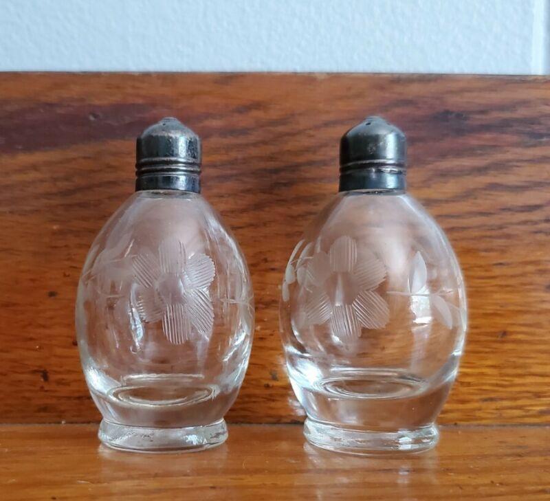 Vintage Etched Floral Orb Glass Sterling Silver Tops Salt Pepper Shakers Deco