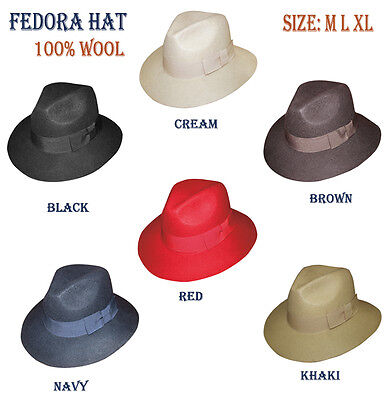 New Men's 100% Wool Fedora Trilby Mobster Hat in 6 Colors sty- LH5 (Mobster Hats)