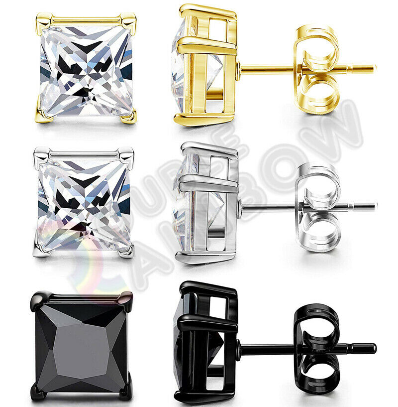 Jewellery - 925 Sterling Silver Stud Earrings Men Women 3,4,5,6,7,8,10mm Diamond Square