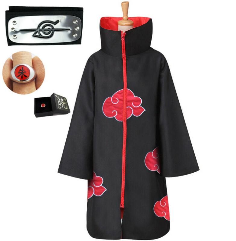 NARUTO Cloak Akatsuki Itachi Uchiha Deluxe Cape+Headband+Ring Set