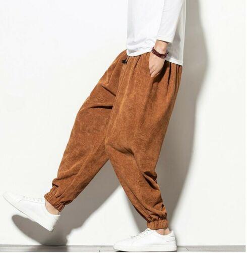 Mens Thick Corduroy Harem Pants Long Trousers Elastic Waist Loose Ethnic Style