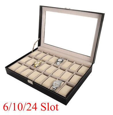 12/20/24 Slot Leather Watch Box Display Case Organizer Top Glass Jewelry Storage