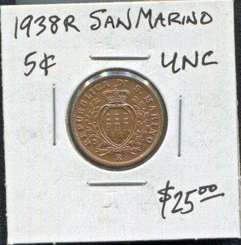 SAN MARINO - BEAUTIFUL HISTORICAL SCARCE BRONZE 5 CENTESIMI, 1938 R