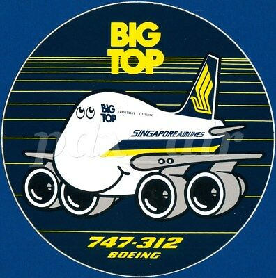 Rare Big Top Singapore Airlines Boeing 747 312 Sticker