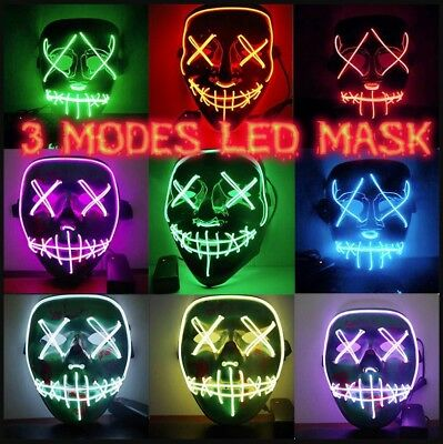 Purge Mask For Halloween (LED Mask Light Up Purge Spooky Scary Mask for Cosplay Costume Halloween)