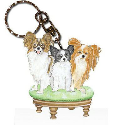 Papillon Wooden Dog Breed Keychain Key Ring