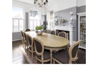 Limed Oak 10 Seater Dining Table And Matching Chairs Oval Shape