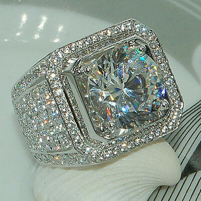 18K White Gold Iced Out BAND HipHop Engagement MICROPAVE CZ Pinky Men Women Ring