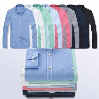 Mens Cotton Oxford Dress Shirt Plain Casual Formal Sleeve Long -