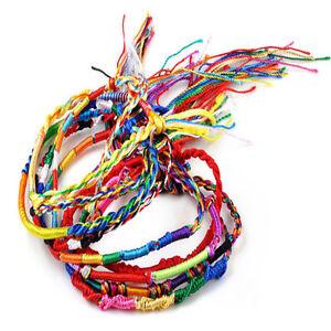10 x Assorted Woven Rainbow Friendship Bracelet Colourful Cord Braid Wristband