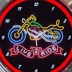Motorcycle Neon Clock 15 Inch Live 2 Ride Office Game Room Man Cave