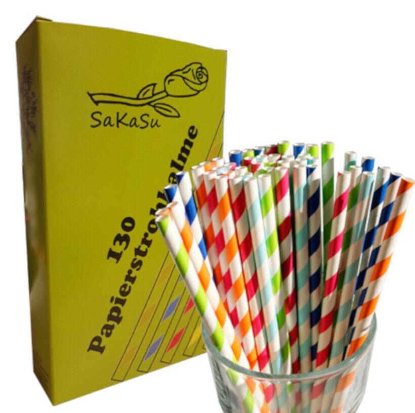130x Papierstrohhalme im Karton! ## Made in EU ## Trinkhalme Streifen Mix