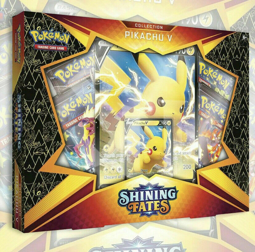 NEW POKEMON TCG: SHINING FATES PIKACHU V BOX | 4 Booster Packs SEALED