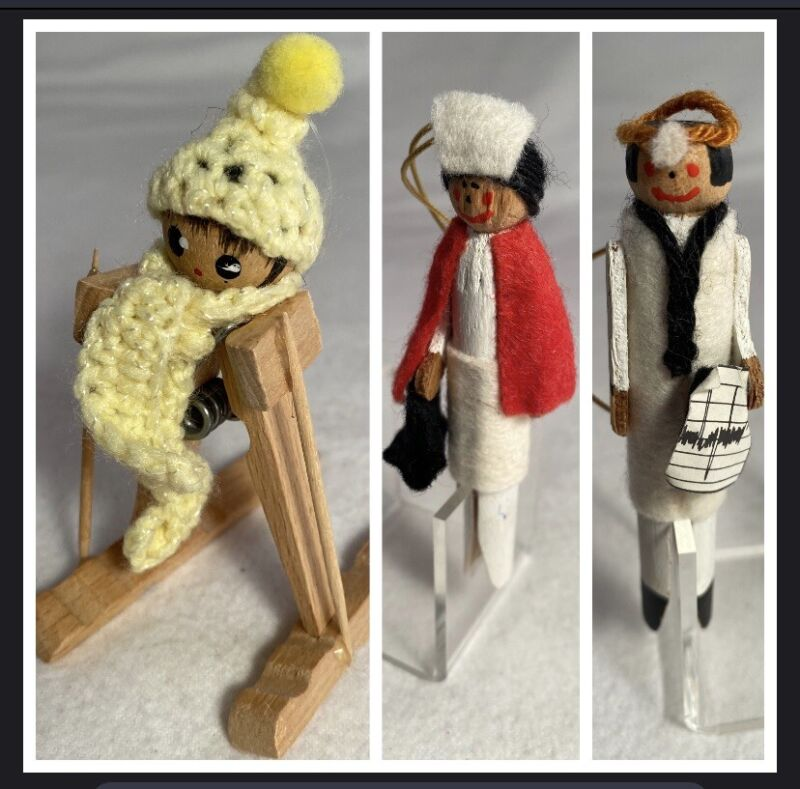 5 Wooden Clothespin People Christmas Ornaments Handmade Nurse Doctor Skier