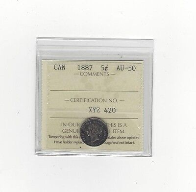 Click now to see the BUY IT NOW Price! 1887 ICCS GRADED CANADIAN SMALL SILVER 5 CENT AU 50