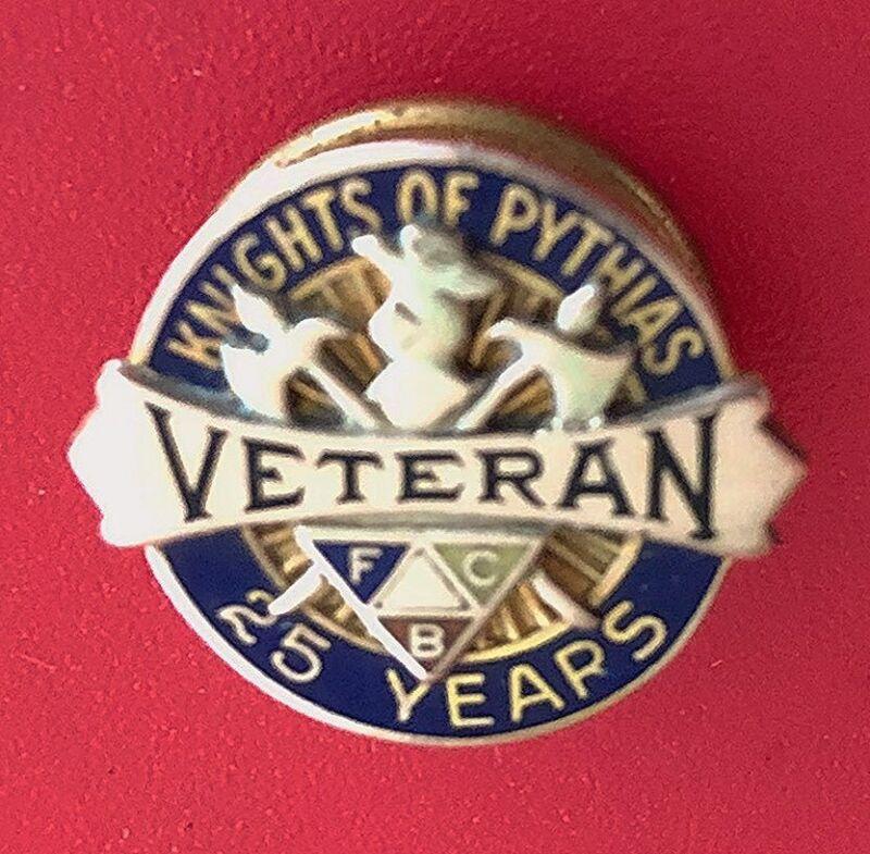 "Vintage FCB ""KNIGHTS of PYTHIAS"" 10K Gold Screw Back Pin Badge; 25 Year Veteran"