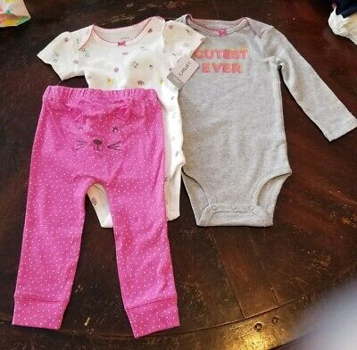 Carter's 18 months 3 piece outfit pants one piece Tops Cutest Ever NWT