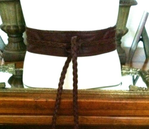 Vtg Burgundy Leather Cummerbund Wide Wrap Belt w Braided Ties