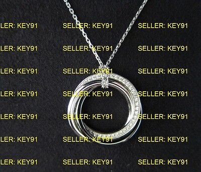TRINITY DE CARTIER NECKLACE PENDANT DIAMOND WHITE GOLD CERAMIC 100% AUTHENTIC