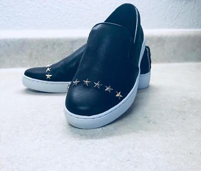 Michael Kors Keaton Slip On Leather Star Studs Sneakers Black women shoes Sz 6