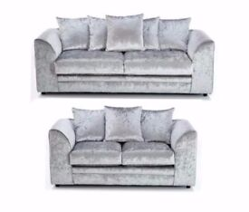 SUPERB QUALITY GUARANTEED&--NEW COLORS--- NEW DYLAN CRUSHED VELVET CORNER OR 3 AND 2 SEATER SOFA