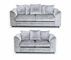 BLACK SILVER AND MINK COLOUR == BRAND NEW DYLAN CRUSH VELVET CORNER OR 3+2 SOFA ON SPECIAL OFFER