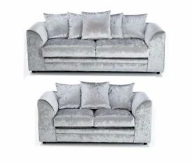 100% Best Price Offered--Limited Time Offer!! DYLAN CRUSHED VELVET CORNER OR 3+2 SEATER SOFA
