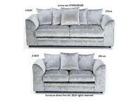 brand new crushed velvet sofa set 3 + 2 limited edition new dylan range- silver colour furniture