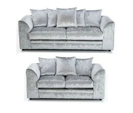 new crushed velvet 3 & 2 sofa suite set in silver color - furniture