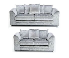 = 14 DAYS MONEY BACK GUARANTEE ** DYLAN CRUSH VELVET ** CORNER / 3+2 SOFA SET - BRAND NEW =