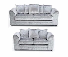 Brand New Italian Crushed Velvet DylanCorner Suite or 3 and 2 Sofa Set silver and black