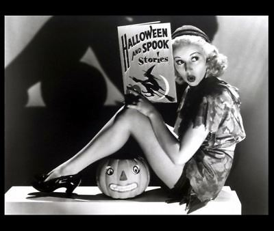 1938 Hot Betty Grable PHOTO Sexy Halloween Story, Scary Pin-up Girl Spooky (Scary Halloween Girl)