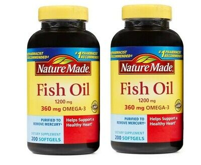 Nature Made FISH OIL 1200 Mg (360 Mg OMEGA-3) 2X200 Liquid Softgels,400 Ct Total