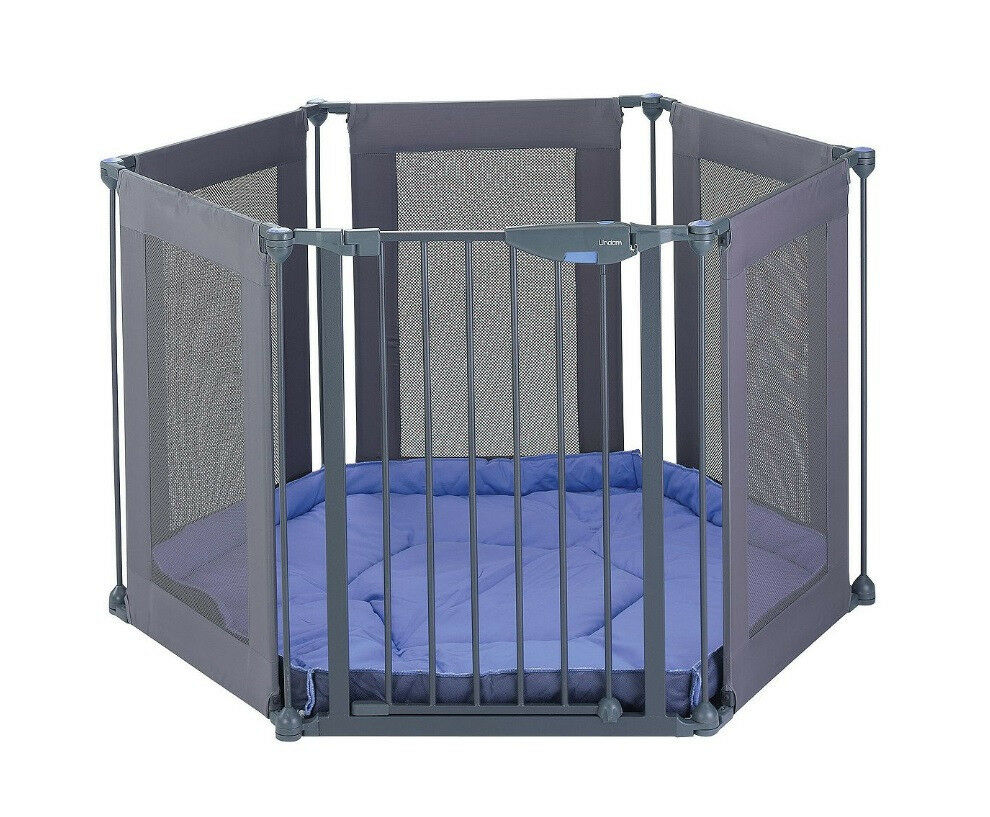 Lindam Safe Secure 6 Panel Fabric Playpen Room Divider Baby Gate