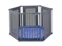 Lindam Safe Secure 6 Panel Fabric Playpen Room Divider baby gate safety nursery